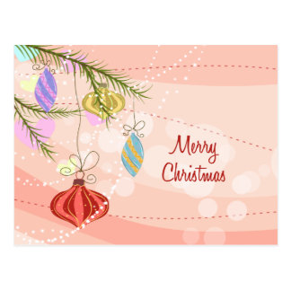 Pretty Ornaments Pink Christmas Postcard