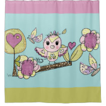 Pretty Owl, Flowers, Butterfly Summer Shower Curtain