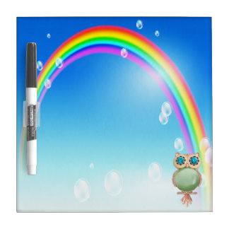 Pretty Owl Jewel & Rainbow Dry Erase Board