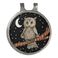 Pretty Owl With Blue Necklace on Tree Branch Stars Golf Hat Clip