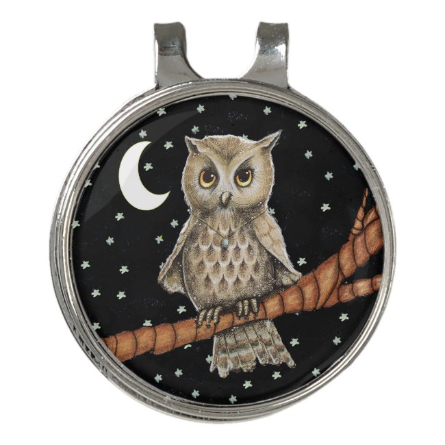 Pretty Owl With Blue Necklace on Tree Branch Stars