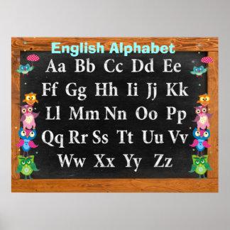 Pretty owls Alphabet Customizable Poster