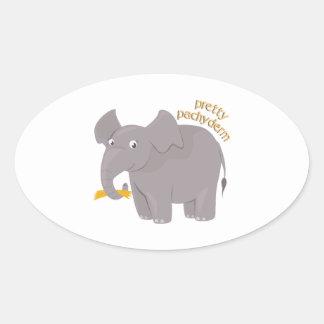 Pretty Pachyderm Oval Sticker