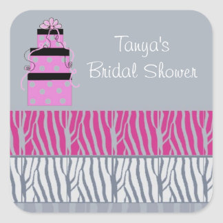 Pretty Packages and Zebra Stripes Bridal Shower Square Sticker