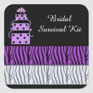 Pretty Packages and Zebra Stripes Bridal Square Sticker