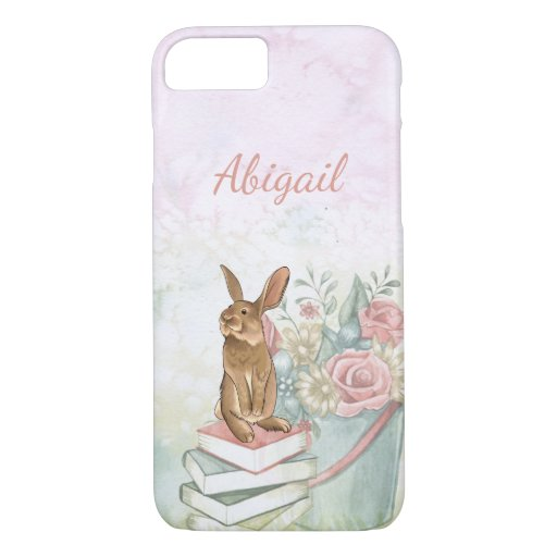 Pretty Pail of Flowers and Bunny Rabbit on Books iPhone 8/7 Case