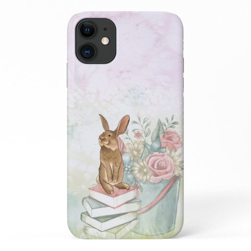 Pretty Pail of Flowers and Bunny Rabbit on Books iPhone 11 Case