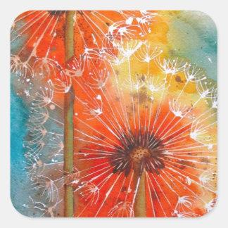 Pretty Painted Dandelion Square Sticker