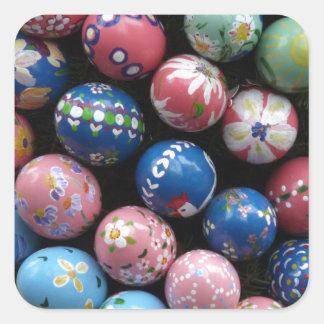 Pretty Painted Eggs Square Sticker