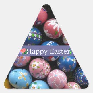 Pretty Painted Eggs Triangle Sticker