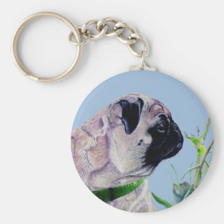 Pretty Painted Pug Button Keychain