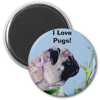 Pretty Painted Pug Round Refrigerator Magnet