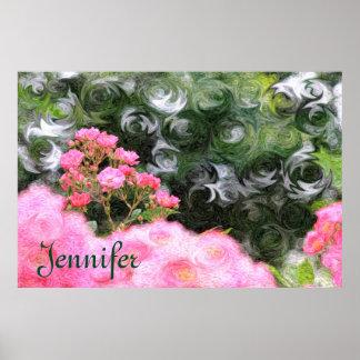 Pretty Painterly Pink Roses Green White Swirls Poster