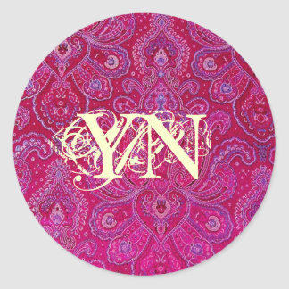 Pretty Paisely monogram Classic Round Sticker