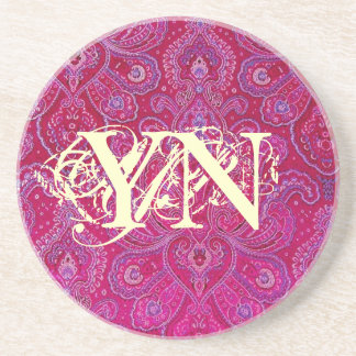 Pretty Paisely monogram Drink Coasters