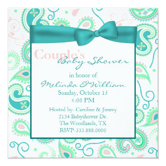 Pretty Paisley Couple's Baby Shower Invitation