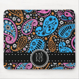 Pretty Paisley in Bright Fun Colors with Initials Mouse Pad