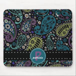 "Pretty Paisley in Rich Peacock Colors Mouse Pad<br><div class=""desc"">Personalize this vibrant and bold retro paisley pattern reworked in cheery modern colors inspired by a peacock feather. Girly shades of peacock blue, greens and turquoise, rich purples and a touch of brown accent the black and white for a splash of funky color, with a dotted black and white ribbon...</div>"