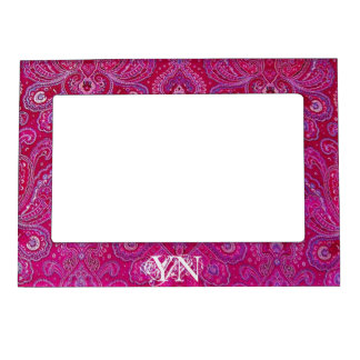 Pretty Paisley monogram Picture Frame Magnet