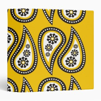 Pretty Paisley Pattern On Yellow 3 Ring Binder