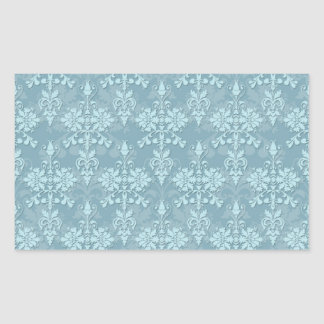 Pretty Pale Blue Damask Pattern Rectangular Sticker
