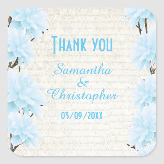 Pretty pale blue floral flower thank you square sticker