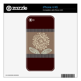Pretty Pale Cream Stripes Summer  Floral Design Skin For iPhone 4S