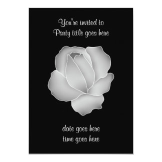 "Pretty pale gray rose on black all occasion party 5"" x 7"" invitation card"