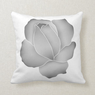Pretty pale gray rose throw pillow