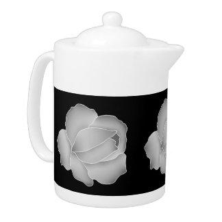 Pretty pale gray roses on black teapot