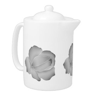 Pretty pale gray roses on white teapot