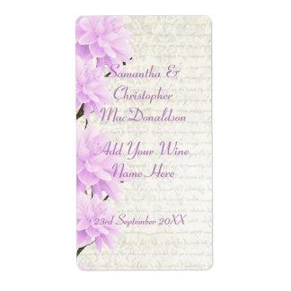 Pretty pale lilac  floral wedding wine bottle label
