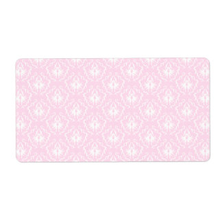 Pretty pale pink damask pattern with white. shipping label