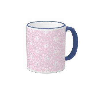 Pretty pale pink damask pattern with white. mug