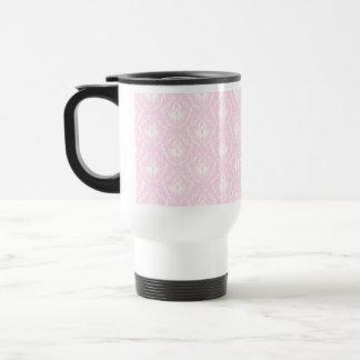 Pretty pale pink damask pattern with white. coffee mugs