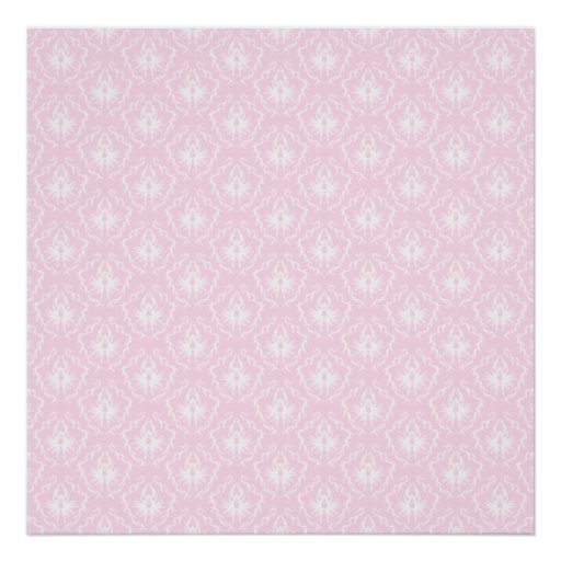 Pretty pale pink damask pattern with white. posters