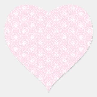 Pretty pale pink damask pattern with white. heart sticker