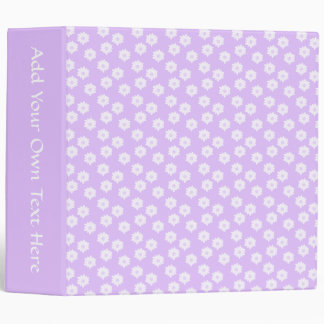 Pretty Pale Purple Floral Pattern. 3 Ring Binder