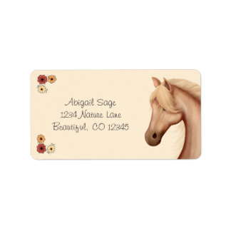 Pretty Palomino and Flowers Horse Address Labels