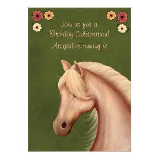 Pretty Palomino and Flowers Horse Birthday Invite