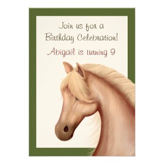 Pretty Palomino Horse Birthday Invitation ~ Girls