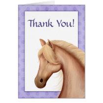 Pretty Palomino Horse Purple Thank You Card