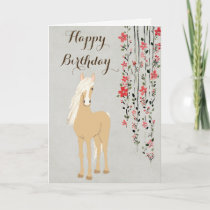 Pretty Palomino Pony and Flowers Horse Birthday Card