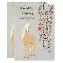 Pretty Palomino Pony and Flowers Horse Birthday Invitation