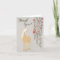 Pretty Palomino Pony and Flowers Horse Thank You Card