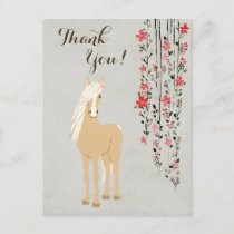 Pretty Palomino Pony and Flowers Horse Thank You Postcard