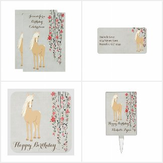 Pretty Palomino Pony n Flowers Horse Birthday Set