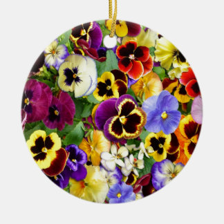 Pretty Pansies Double-Sided Ceramic Round Christmas Ornament