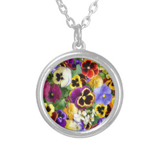 Pretty Pansies Round Pendant Necklace