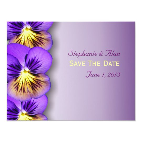 Pretty Pansies Save The Date Cards